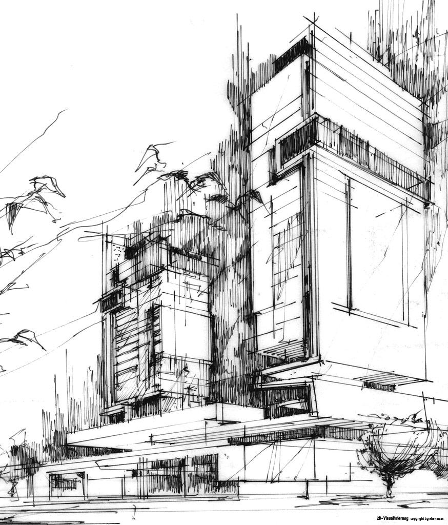 2d 3d galerie architektur innenarchitektur 3d - Architektur skizze ...